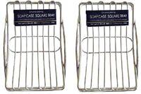 Pack of 2 Home Bathroom Steel Soap Case Holder, Sink Deck Bathtub Shower Dish
