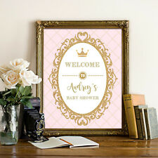Royal Princess Baby Shower Welcome Sign Pink Gold Crown Poster Decor UNFRAMED