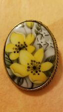 Vintage Gold Tone Hand Painted Porcelain Brooch in rich gray and yellow floral