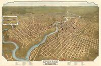 MAP SPOKANE WASHINGTON VINTAGE LARGE WALL ART PRINT POSTER PICTURE LF2626