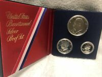 🗽1976 U.S. Proof 40% Silver Three Piece 1776-1976 Bicentennial Proof Coin Set