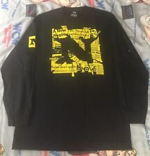 "Nexus ""We Are One"" WWE T-Shirt L Long Sleeve newspaper shatter black yellow logo"