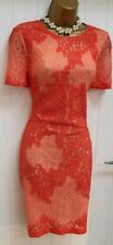 Karen Millen Burnt Orange Lace Shift Dress UK 10