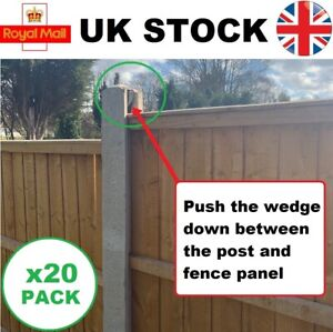 Fence panel Clips (20 pack) stop fence panels rattling in wind, fence wedges