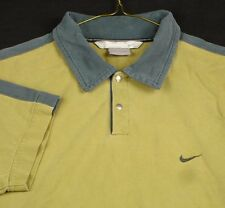 Nike Beige Golf Polo Shirt Men 2 Snaps Blue Cotton Size M EUC