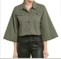 JACK BY BB DAKOTA | Raw Hem Crop Olive Green Button Jacket NWT Size Small Flare