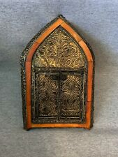 Moroccan Wall Mirror W/Doors Camel Bone Handmade Mediterranean Decor Med Orange
