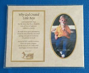 Why God Created Little Boys Poem and Photo Matte; New; Never Used