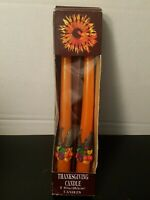 Vintage 1980s Thanksgiving Fall Autumn Taper Candles Set of 2  10 in New in Box