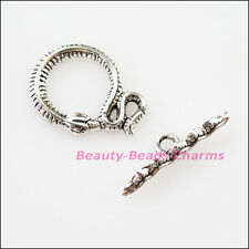 8Sets Tibetan Silver Animal Snake Circle Bracelet Toggle Clasps Connectors