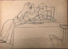 Dessin Ancien Étude Fillette Bébé LOUIS MAURICE BOUTET DE MONVEL c.1890 XIXe