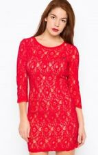 Guess Lace Dress Red Size S RRP £99 Box4537 X