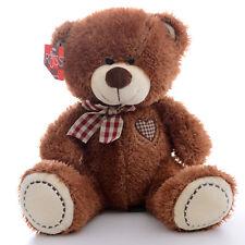Plush toy pink scarf brown teddy bear grid heart stuffed animal soft toys 30 cm