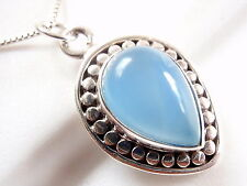 Chalcedony Necklace 925 Sterling Silver Perimeter Accented with Silver Dots New
