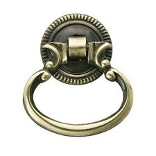 FURNITURE armoire Hardware Drawer Ring Knocker Pull w/ backplate Antique brass