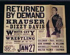 RARE 1940's wrestling poster Krauser Davis Coleman Bowman Goebbbells  Chicago