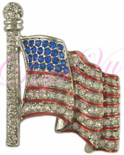 SMALL CRYSTAL PATRIOTIC AMERICAN FLAG BROOCH MADE WITH SWAROVSKI ELEMENTS