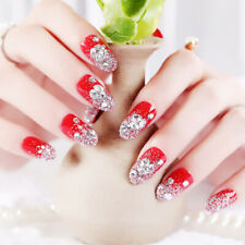 24Pcs Red Round False Nails Acrylic UV Gel Full French Fake Nails Art Tips To JB