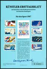 GERMANY ART-SHEET 1987/05 SPORTS BIATHLON SAILING BOAT SHIPS UNISSUED DESIGNS!!