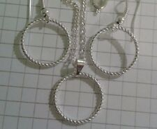 "TIBETAN SILVER (SET)""SHINEY THIN CIRCLES"" EARRINGS+PENDANT18""or 20""NECKLACE"