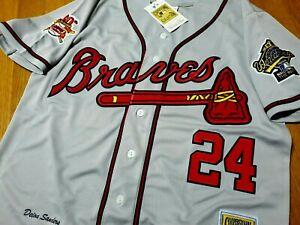 Brand New GRAY! Atlanta Braves #24 Deion Sanders cooperstown w/2patch Jersey MEN