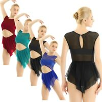 Women Mesh High Low Leotard Dress Latin Lyrical Modern Dance Ballet Dancewear