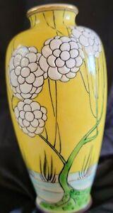 Japanese Late Meiji Awaji Vase floral yellow rare Asian pottery porcelain