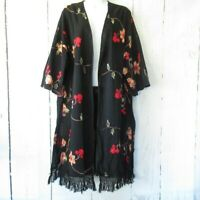 New Umgee Kimono XL X Large Black Floral Embroidered Fringe Boho Peasant