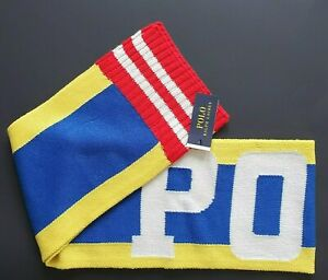 New Mens Polo Ralph Lauren Bring it Back Stadium Scarf Yellow Multi