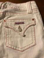 Hudson Women's Jeans White Red Trim Stretch Boot Cut Flap Pocket Size 28 X 35