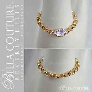$395 BC® NEW VICTORIAN OVAL AMETHYST 14K DIAMOND CUT YELLOW GOLD VTG CHAIN RING