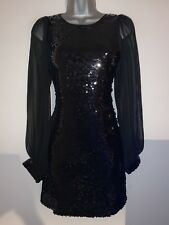 FAB BLACK MISO SEQUIN XMAS PARTY EVENING DRESS SZ 10