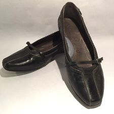 Women's INDIGO by CLARKS Leather Black/Gray Mary Jane Loafers Flats  6M