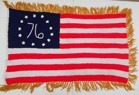 Vintage Betsy Ross 76 American Flag Afghan Hand Crochet Lap Blanket Throw