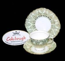 Vintage pretty Colclough mint green & gold chintz teacup trio set