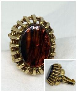 Rare Vintage Ladies Brown 1960s Lucerne Manual Wind Ring Watch Jewelry