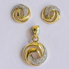 DIAMOND EARRINGS AND PENDANT GENUINE DIAMONDS REAL 9K 375 9CT GOLD BOXED SET NEW