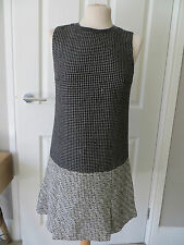 Diane Von Furstenberg Noir & Blanc Tweed Col En Cuir Robe-UK 6-8