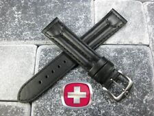 New SWISS ARMY CAVALRY MILITARY 21mm Black Leather Strap X Wenger Watch Band