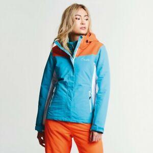 Womens Dare2b Prosperity Ski Jacket Aqua Blue Vibrant Orange