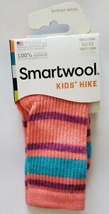 NEW SmartWool Kids Hike Striped Light Hiking Crew Socks M Bright Coral US 12-2.5