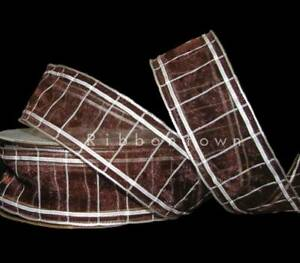 "5 Yards Gridlock Dark Brown White Sheer Ribbon 1 1/2""W"