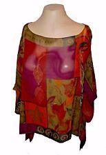 Top Cover-Up Blouse, Nancy Bolen City Girl, 100%-Silk Sheer NWOT XL