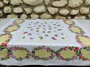 Vintage Printed Table Cloth Pink Red Floral Flowers Yellow Trim Measures 50x44