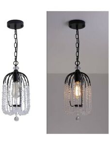 Crystal Pendant Light Fixture Industrial Hanging Black Rustic Cage Glass