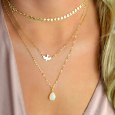 Charms Multilayer Necklace Gold Dove Bird Hippy Boho Sequin Choker Chain Pendant