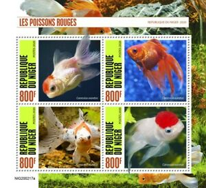 Niger Fish Stamps 2020 MNH Goldfish Fishes Pets Domestic Animals 4v M/S