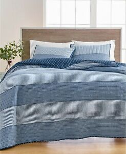 Martha Stewart Yarn Dye Nautical Striped FULL/QUEEN Quilt Cotton Blue Multi $280