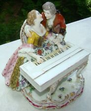 """8"""" Volkstedt Dresden Sitzendorf PORCELAIN Courting Couple w Piano FIGURE GROUP"""