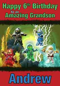 lego ninjago personalised A5 birthday card son brother nephew grandson name age